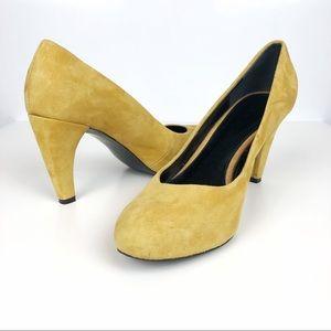 Ann Taylor LOFT Mustard Yellow Suede Leather Heels